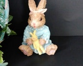"""RESERVED for ANDREA""""-Vintage girl Easter Bunny figurine, rabbit in blue night gown, 1990s, resin cute bunny, yellow toy bunny"""