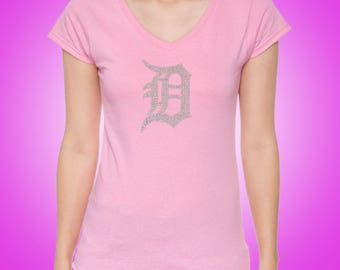"""Detroit """"D"""" Rhinestone Ladies' SoftStyle® 4.5 oz. Fitted V-Neck T-Shirt"""