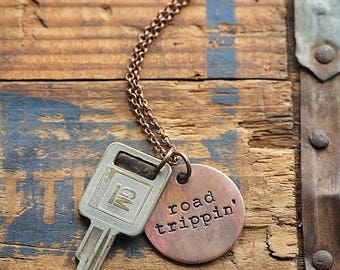 GM Chevrolet Vintage Key Necklace | Chevy Hand Stamped Repurposed Copper Road Trippin Dirt Road Outdoorsy Southern Gift