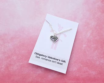 Funny Valentine's Gift, Heart Necklace, Obligatory Gift, Joke Gift, Ironic Gift, Silly Valentine, Girlfriend Necklace, Boyfriend Gift, Fun