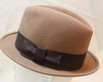 Vintage Golden Gate Hat Co. Light Brown Men's Hat  Trilby Fedora Dress