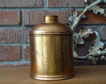 Vintage Hammered Copper Humidor, Metal Cigar Storage, Humidity Stone Included, Great Patina, Copper Canister, Smoking Collectible