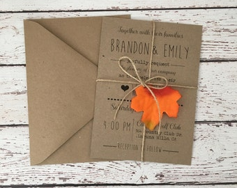 rustic fall invitation, fall wedding invitation, autumn wedding invitation, fall leaves invitation, kraft fall invitation