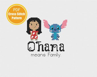 Lilo and Stitch Cross stitch pattern - Ohana Cross-stitch PDF Instant Download - Disney Cross stitch