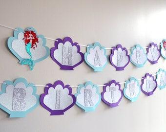 Beautiful Glitter Mermaid Banner / Happy Birthday Banner / Mermaid Backdrop / Mermaid Party Decor