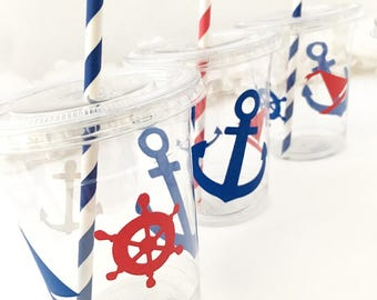Nautical Party Cups - Nautical Wedding Favor Cups, Nautical Baby Shower, Anchor Cups, Beach Wedding, Anchor Birthday, Boat Party, Sailboat