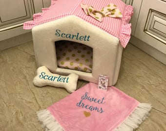 Ivory and checked pink dog house with golden polka dot accents Designer pet house in pink Princess dog bed Cat bed Custom made dog bed Puppy