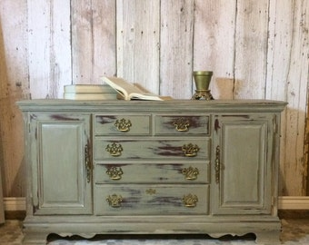 Sage Sideboard Hutch Buffet Console - Chalk Painted - Chippy Paint - Shabby Chic