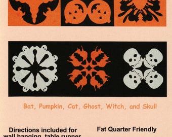 Hawaiian Halloween, Quilt Pattern, Bat-Pumpkin-Cat-Ghost-Witch-Skull-Cedar Creek Quilt Designs,Machine or Hand Applique Fat Quarter Friendly
