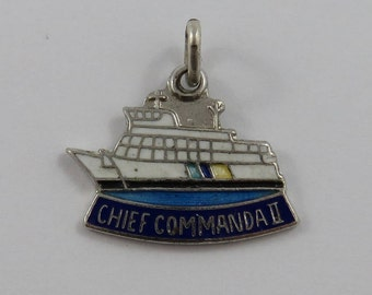 Enamel Chief Commanda II Scenic Cruise Ship Sterling Silver Vintage Charm For Bracelet
