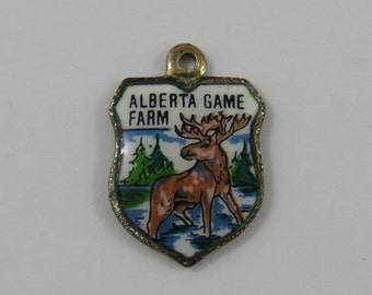 Alberta Game Farm Enamel Travel Shield Silver Vintage Charm For Bracelet