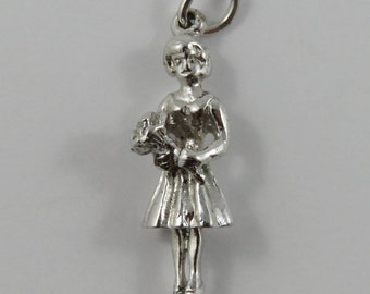 Bridesmaid Holding Bouquet of Flowers Sterling Silver Vintage Charm For Bracelet