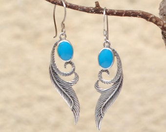 Feather earrings turquoise dangling vintage and sterling silver