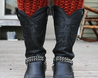 Pumpkin Spice Knit Boot Cuffs - Knitted Leg Warmers Burnt Orange