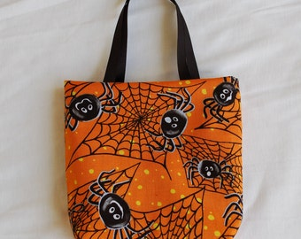 Halloween Fabric Gift Bag/ Party Favor Bag/ Halloween Goody Bag- Spider Webs on Orange