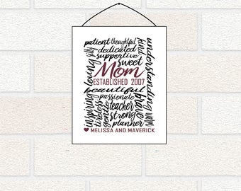 Personalized Gift for Mom, Mom Established Print, Mom Word Art, Personalized Mom Gift, Family Wall Art, Mom Sign, Mother gift from children