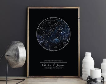 star map custom - star map personalized - star map by date - star map gift - star map poster - Christmas gifts - constellation printable