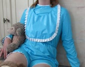 Adult Baby PVC Romper Suit, Lockable Mitts & BiB Pink or Baby Blue