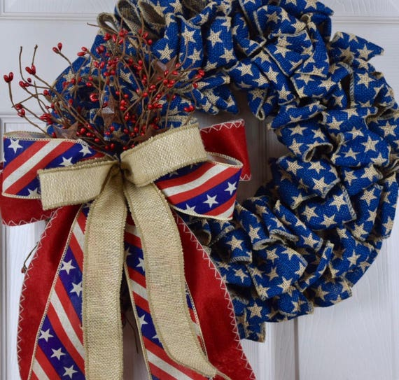 Navy Red and Beige Burlap Wreath with Pip Berries and Stars; Primitive Patriotic Decor Wreath Fourth of July Memorial Labor Day Decor Wreath