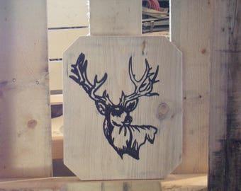 Wood Deer Head silhouette