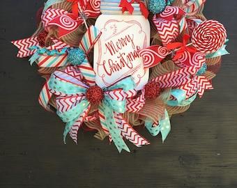 Christmas wreath, christmas front door wreath, christmas candy wreath, candy cane wreath, whimsical christmas wreath, teal and red christmas