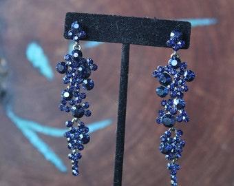 navy blue rhinestone earrings, navy earrings, navy crystal earrings, navy dangle earrings, prom earrings, pageant earrings