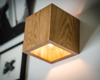 wall lamp Q#202 handmade. sconce. oak wooden lamp. wood lamp. wall light. minimalist lamp. wooden lamp. wood sconce. cube