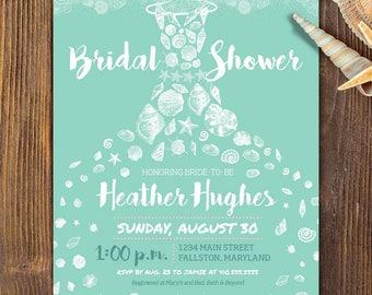 beach bridal shower invite, printable invitation beach shabby chic seashells mint and white seashell dress beach wedding invite personalize