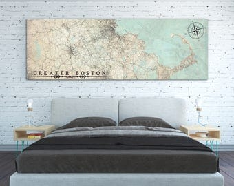 GREATER BOSTON MA Canvas Print Vintage map Massachusetts Greater Boston Ma Vintage map City Horizontal Large Wall Art Vintage poster Us map
