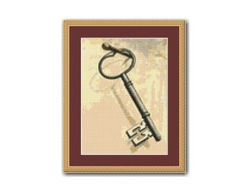 Vintage Skeleton Key Counted Cross Stitch Pattern / Chart, Instant Digital Download  (AP286)