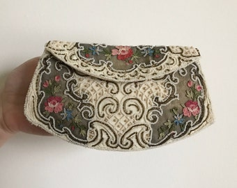Vintage 30's French Embroidered Beaded Clutch- LIKE NEW CONDITION