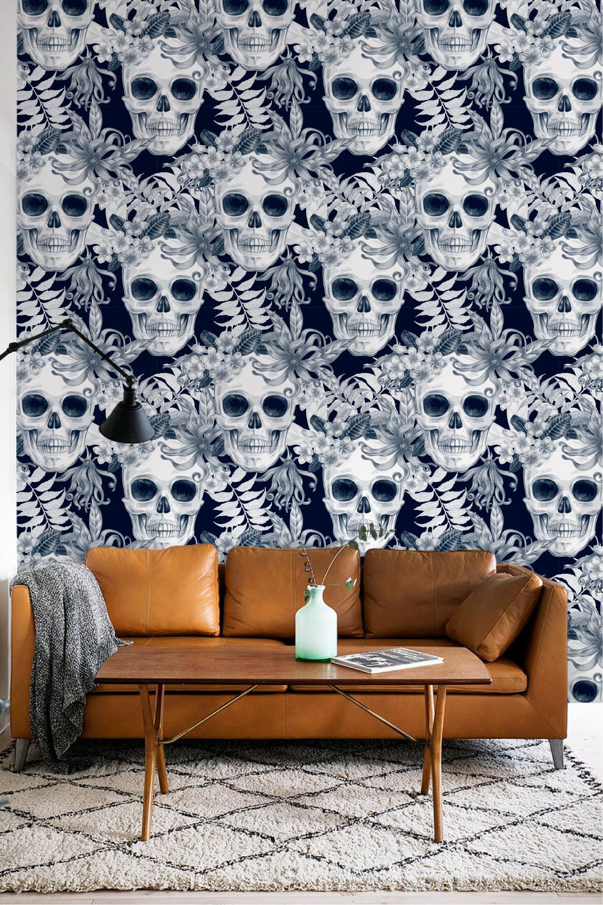 hibiscus and skull wallpaper removable wallpaper fern