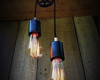 Industrial Black Double Pulley Pendant Light, Industrial Lighting, Ceiling Lighting, Pendant Lighting, Home Decor, Steampunk