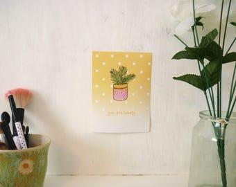 Positive Plant prints ∙ Digital mini print ∙ Cute positivity art
