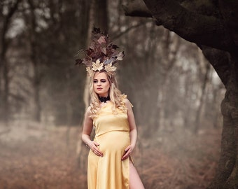 Autumn Crown, Unique Headdress, Leaves , Gothic Couture, Fantasy, Gold Headpiece, Victorian Style, One Of Kind, Autumn Queen, Wooden Sticks