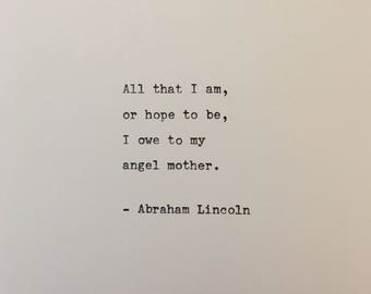 Abraham Lincoln quote hand typed on antique typewriter scrapbooking
