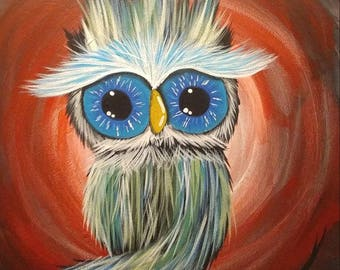 Owl painting in acrylics