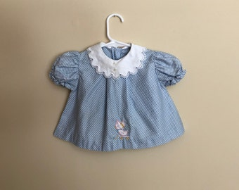 Vintage Blue Polka Dot Top for baby