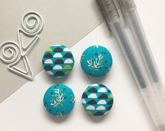 Floral Magnets, Turquoise Magnets, Refrigerator Magnets, Kitchen Decor, Office Decor, White Board Magnets, Gifts For Teachers, Turquoise
