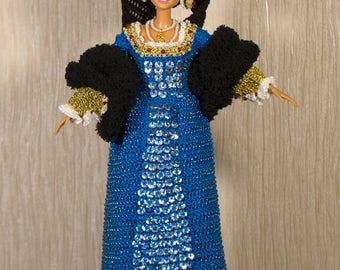 Anne Boleyn doll Queen Anne Boleyn Blue dress Handmade crochet historical barbie gown Tudor Barbie clothes Barbie crochet Medieval
