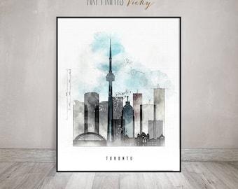 Toronto skyline poster contemporary art print   ArtPrintsVicky.com