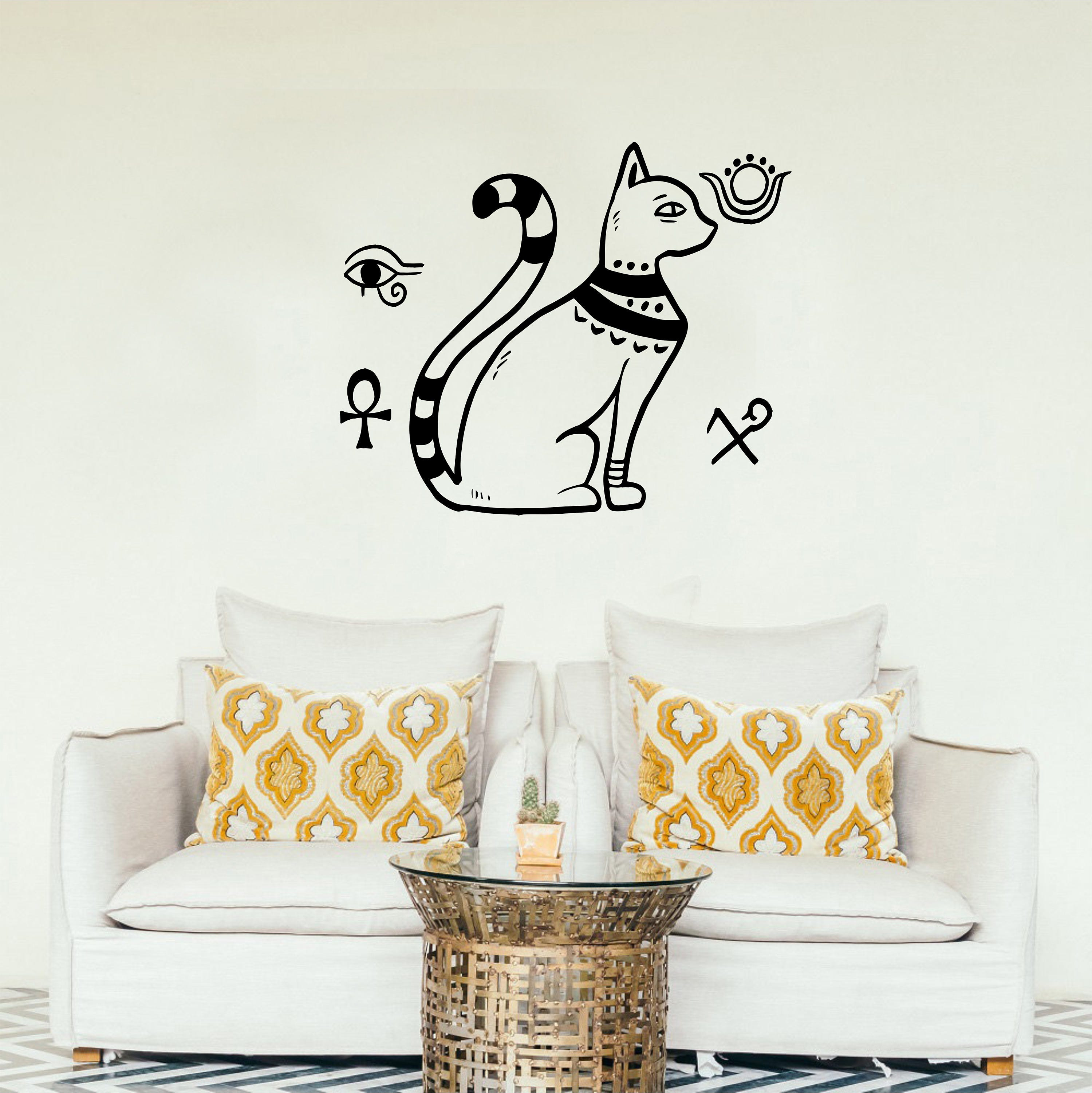 Egyptian style wall decal with national symbols, Egyptian cat wall ...