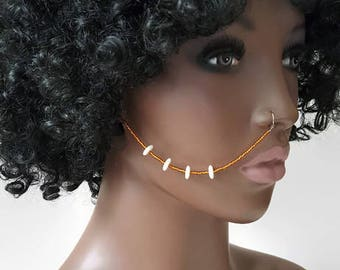 Metallic Brown Beaded Nose Chain - Nose Chain - Tribal Jewelry - Ear To Nose Chain - African Jewelry - Face Jewelry - Face Chain