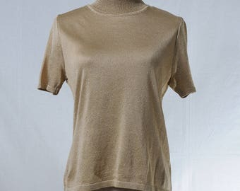 Vintage metallic gold knitted high neck top