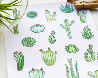 cactus planner stickers watercolor cactus stickers succulent stickers botanical stickers green stickers bullet journal stickers        ST005
