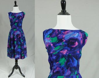 60s Floral Party Dress - Blue Purple Pink Green - Soft Swirly Watercolor Flowers - Gentle Sheen - Vintage 1960s - S