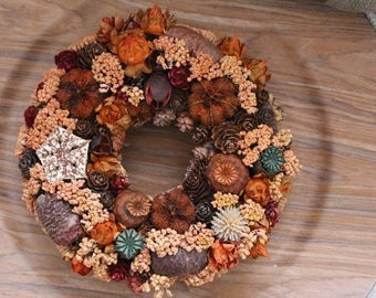 Wreath, Autumn wreath, Natural wreath, Rustic wreath, Door decoration, Table decoration