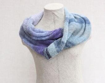 Blue evening shawl / Chunky scarf for fall / Bohemian autumn scarf / Large mohair shawl / Xmas handknit shawl - Moonshadow 3