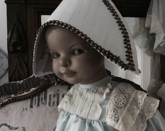 SALE !!! Little mannequin with lightblue napoleonhat  and lightblue dress antique,doll,Rare1930