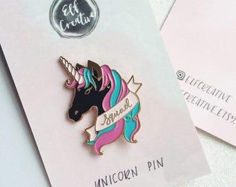 Black Unicorn enamel pin by Elf Paper Co. Unicorn Squad. Girl gang. Black Unicorn. Unicorn collar pin badge